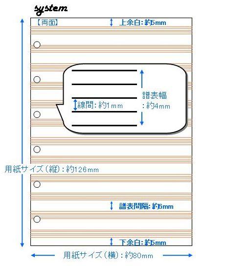 システム手帳用五線紙 12段 No.system